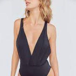 Out From Under Synthetic Slinky Plunging Bodysuit